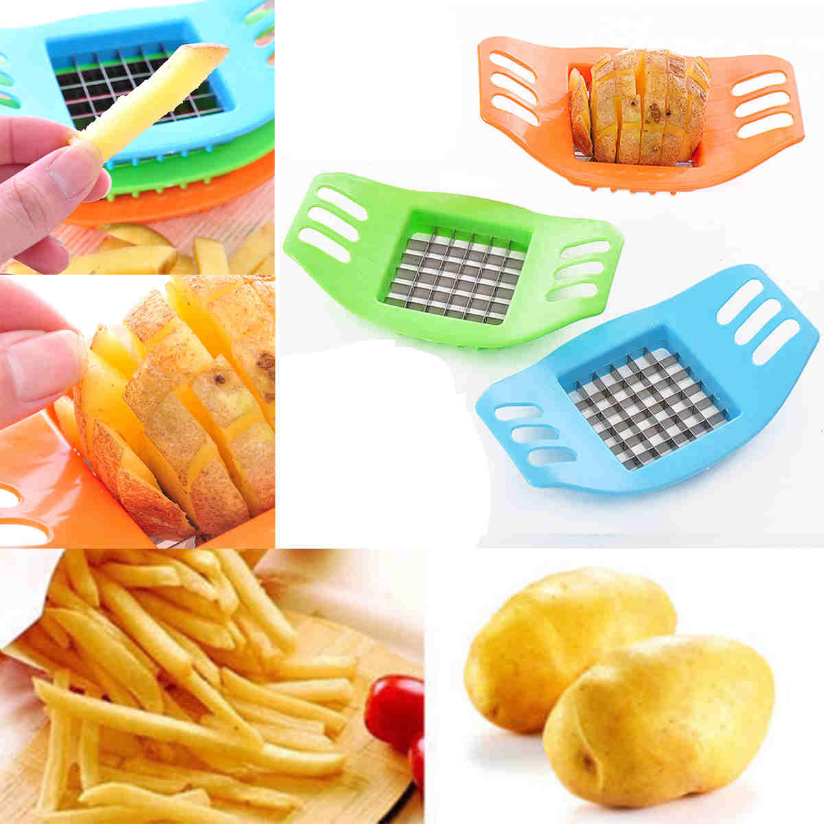 1pcs Vegetable Potato Cutter Slicer Chopper Chips Making Device Fries Stainless Steel Kitchen Cooking Tools Random 17x10x2cm