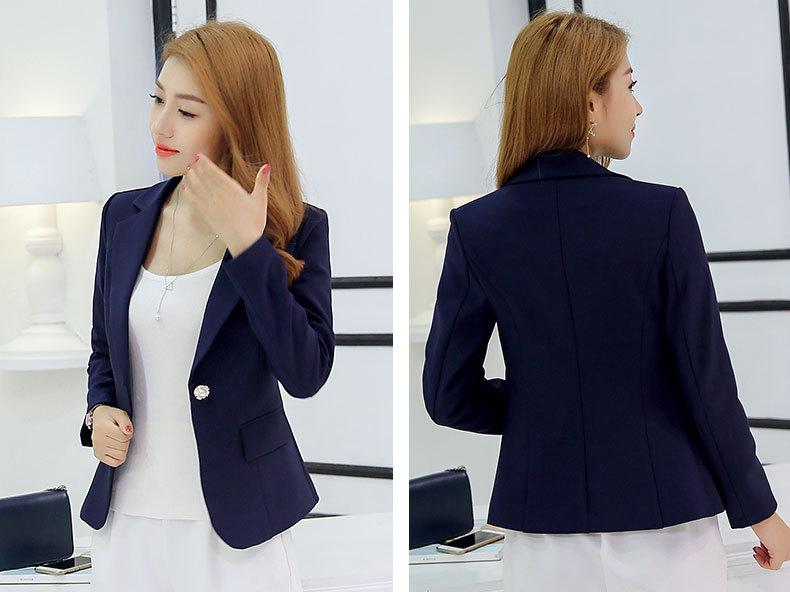 1725121d9af5 Women Office Suit Jackets Coat Slim Short Design Long Sleeve Ladies Blazer  Girls Work Wear Jacket Clothing Wine Gray Blue-in Blazers from Women s  Clothing ...