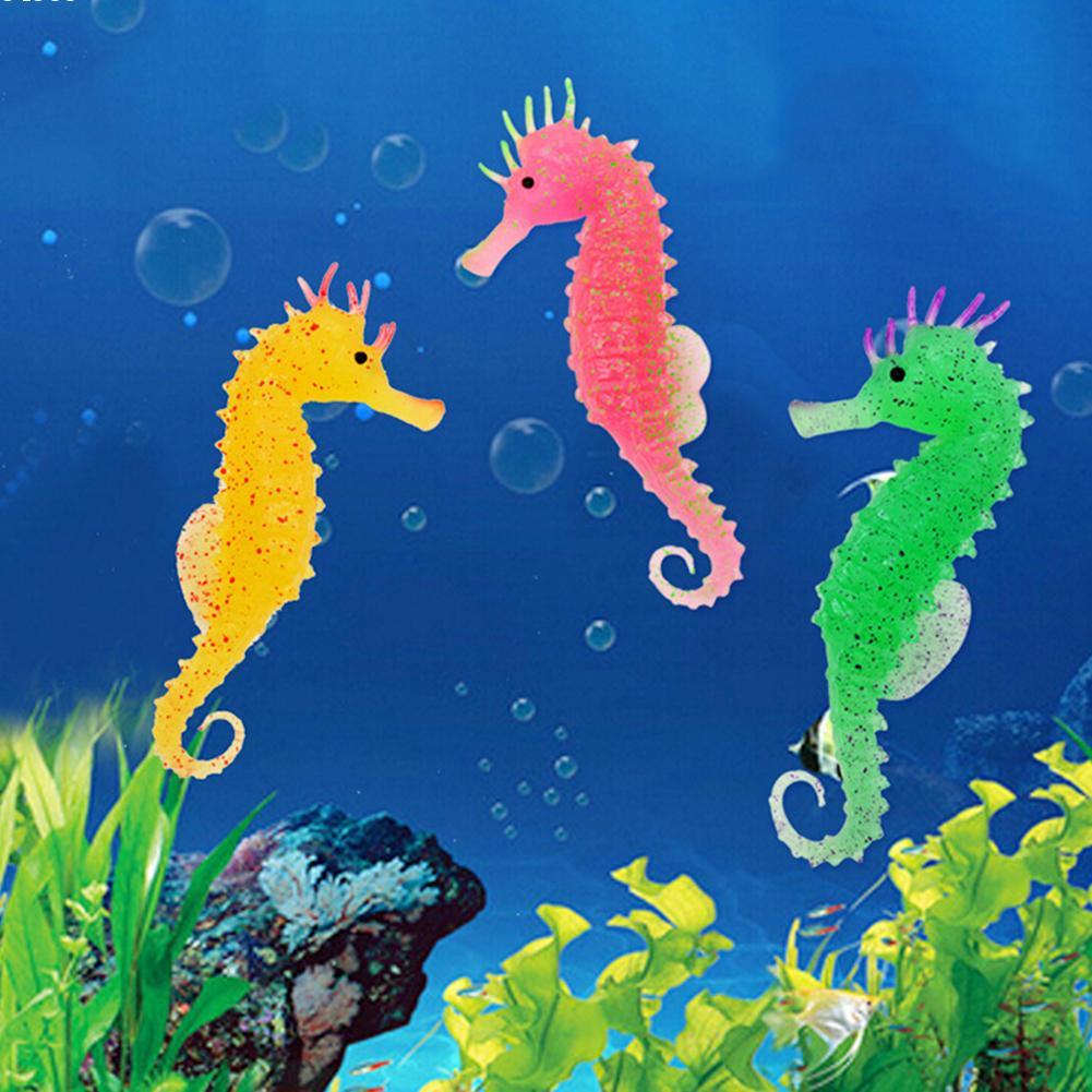 Artificial aquarium fish tank - Glowing Luminous Artificial Simulation Hippocampus Silicone Aquarium Fish Tank Decorations 3 Color For Choose A2