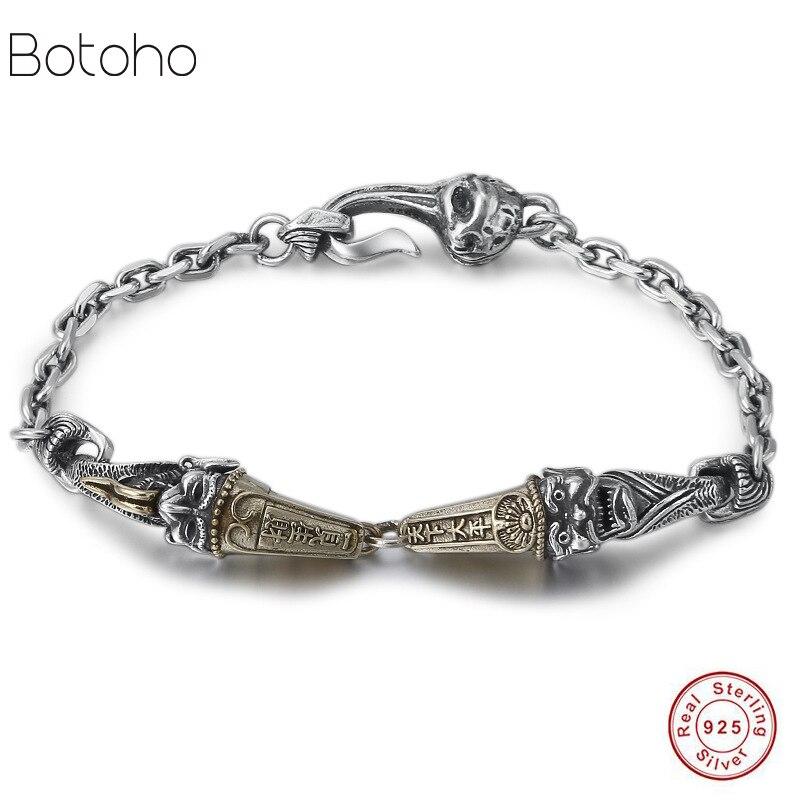 Hommes de bracelet de bracelet en argent sterling 925 Thai argent hommes Charme bracelet d'anniversaire haute bijoux Dominateur Jour de Père cadeau