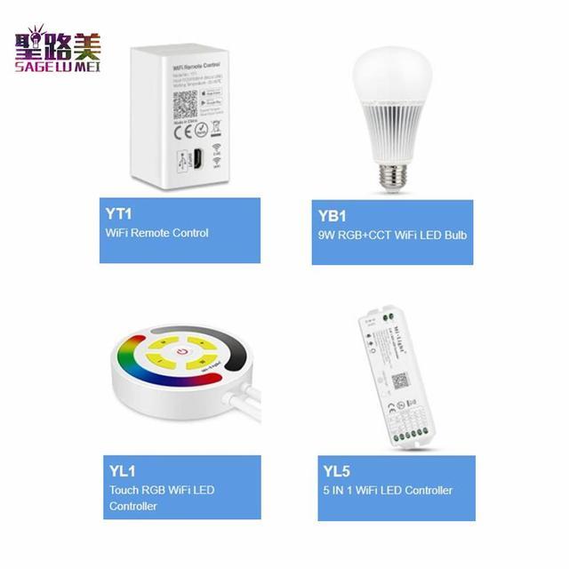 Amazon Alexa YT1 WiFi uzaktan kumanda YL1 dokunmatik RGB WiFi LED denetleyici YL5 5 IN 1 WiFi LED denetleyici 9W RGB + CCT WiFi bağlantılı LED ampul