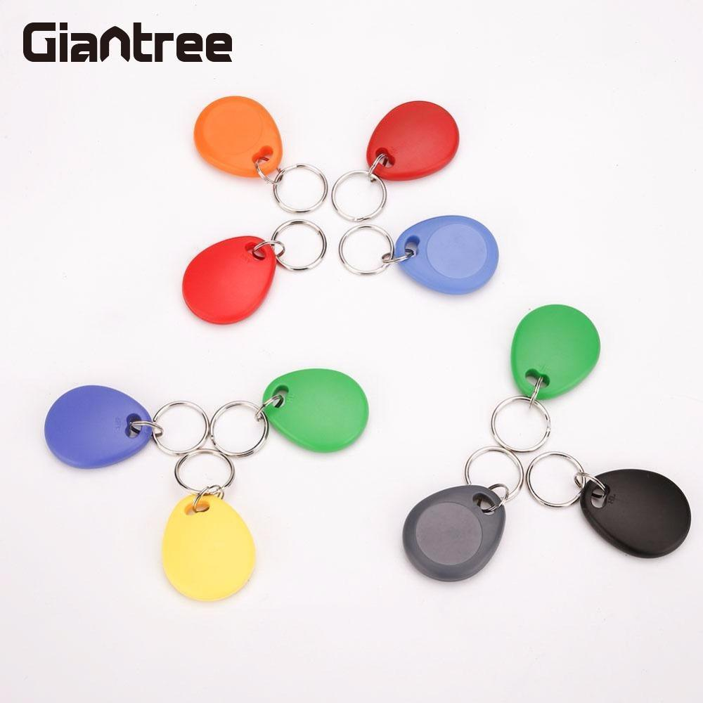 Giantree Colorful 10PCS Copy Rewritable ID Keyfob Card Timecard RFID Tag Key Fob Keyfobs Keychain Ring Token Access Card non standard die cut plastic combo cards die cut greeting card one big card with 3 mini key tag card