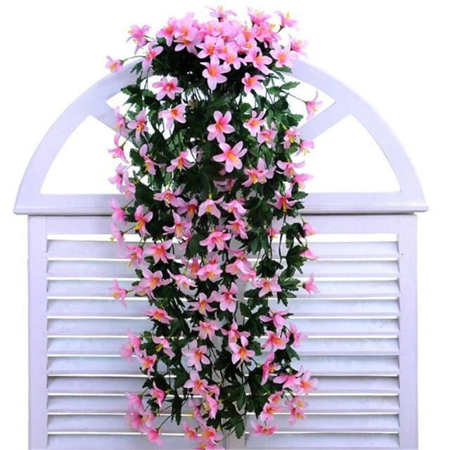 2 wand blume vase k nstliche lilie blume rattan blumen kunststoff blumen f r hochzeitsfest. Black Bedroom Furniture Sets. Home Design Ideas