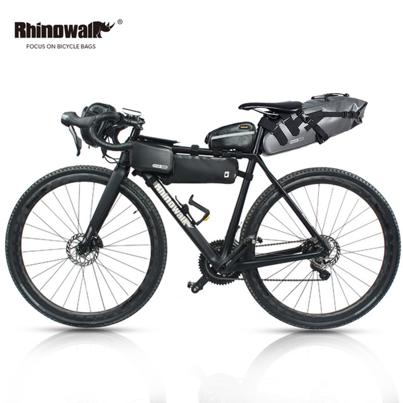 RHINOWALK 5pc/set Bicycle Bag Outdoor Cycling Bike Bag MTB Bike Saddle Tail Seat Bicycle Handlebar Pannier Head Front Tube Bag outdoor bike bicycle upper tube bag silver black