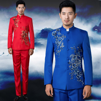 Chinese Zhong Shang embroidery Clothing Men's costume tunic sequins stage choral Outfit service men's wedding singer host Suits