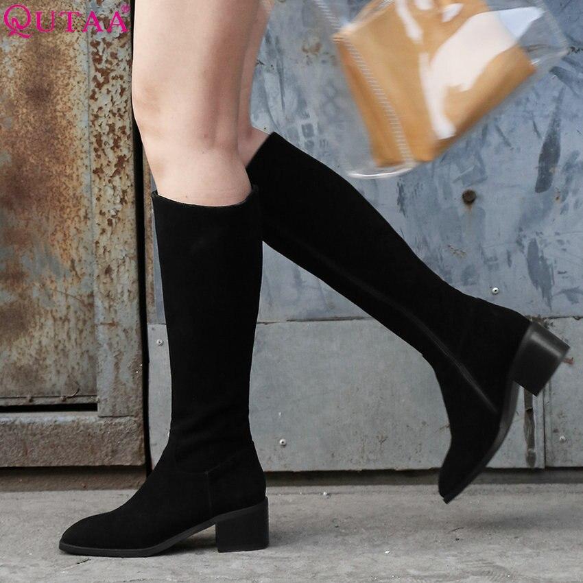 Qutaa 2019 여성 신발 플랫폼 여성 니 하이 부츠 지퍼 라운드 투 모든 경기 겨울 부츠 캐주얼 여성 부츠 크기 34 39-에서무릎 - 하이 부츠부터 신발 의  그룹 1