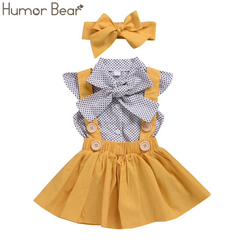 Humor Bear Baby Girls Clothes Sets 2019 Summer Dot Flying Sleeve Top+strap Dress+Headband 3-piece Kids Children's Clothing Suit(China)