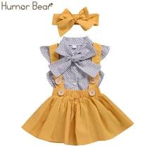 Humor Bear/комплекты одежды для маленьких девочек, летний топ в горошек с рукавами-крылышками+ платье на бретелях+ повязка на голову, комплект детской одежды из 3 предметов