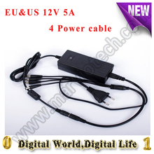 EU & US Cord 12V 5A Surveillance Camera 1 Split 4 Power Cable Adapter for Security camera System CCTV camera  Power Supply