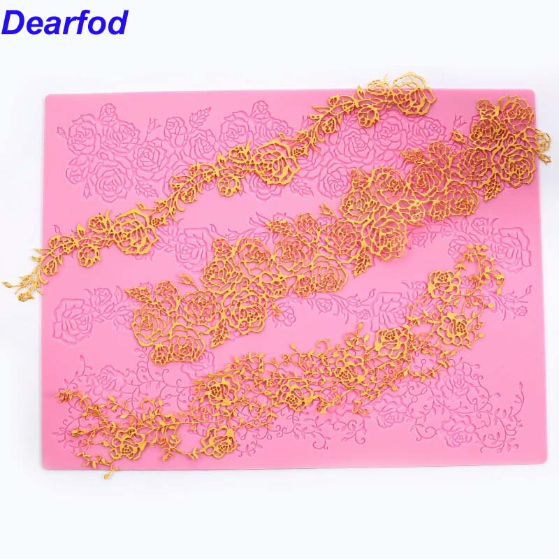 MX125 Patru straturi Rose Model de flori Lace Mold Silicon Sugar Lace Pad Tort Brim Decorare Mase Bucatarie DIY instrument