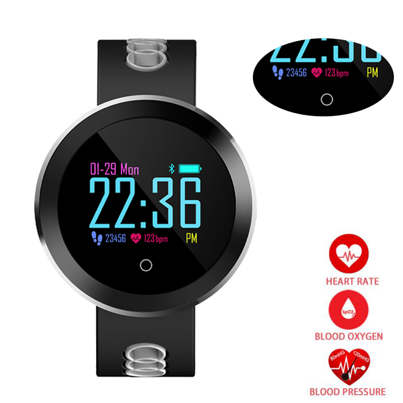 Heart Rate Monitor Smart Watch Sports Blood Pressure Pedometer Running OLED Touch Waterproof Fitness Intelligent Watch