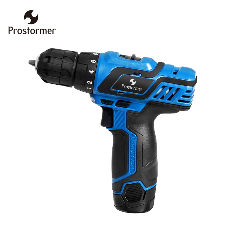 Prostromer 12V Electric Cordless Mini Electric Drill With LED Light Home DIY Rechargeable Lithium Ion Battery Power Tools-in Electric Drills from Tools    1