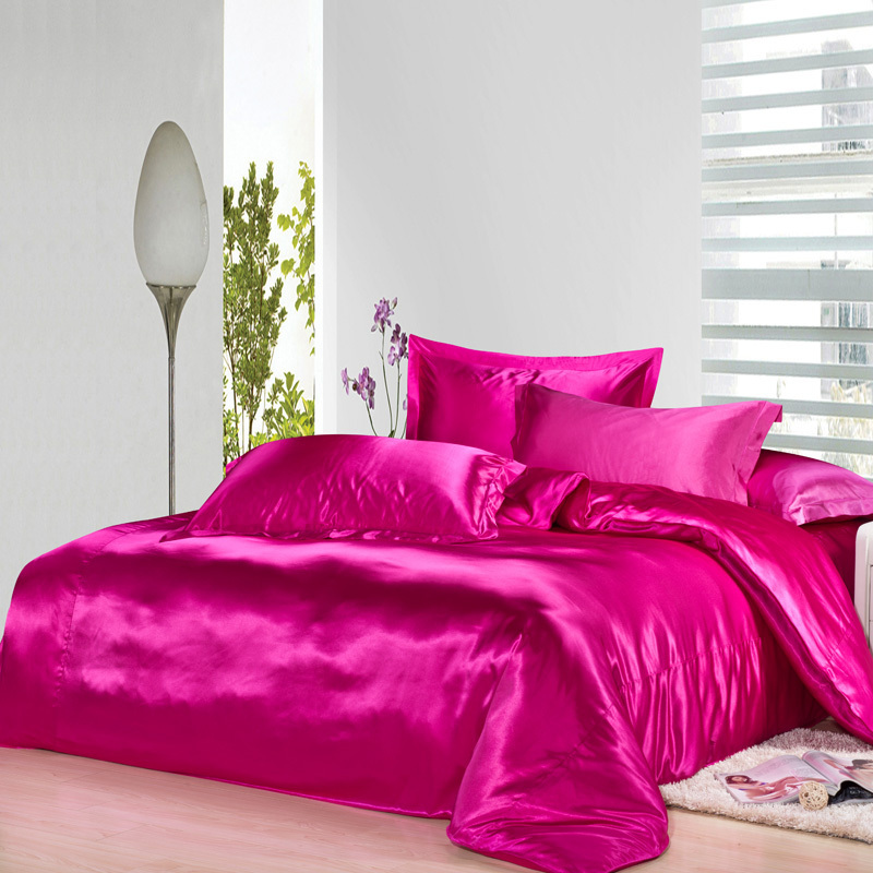 Hot pink silk bedding set satin sheets luxury queen full twin quilt duvet cover super king size bed linen bedspreads double 4pcsHot pink silk bedding set satin sheets luxury queen full twin quilt duvet cover super king size bed linen bedspreads double 4pcs