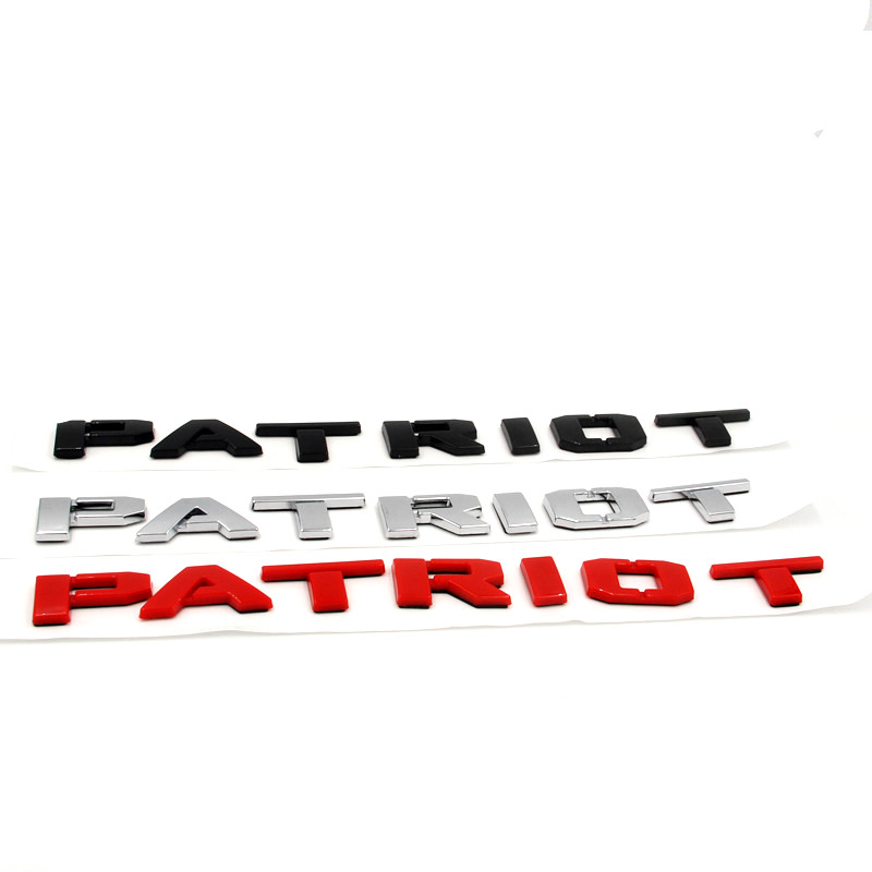 chrome gloss preto vermelho letras palavra patriot fender tronco tampa emblema emblema emblemas etiqueta para jeep