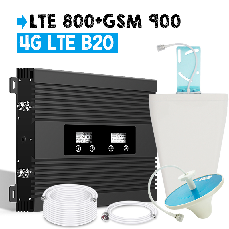 2018 New Two LCD Display Cellular Signal Booster 4G LTE 800 GSM 900 Repeater 82dB Gain Band 20 4G Signal Amplifier Big Power Set