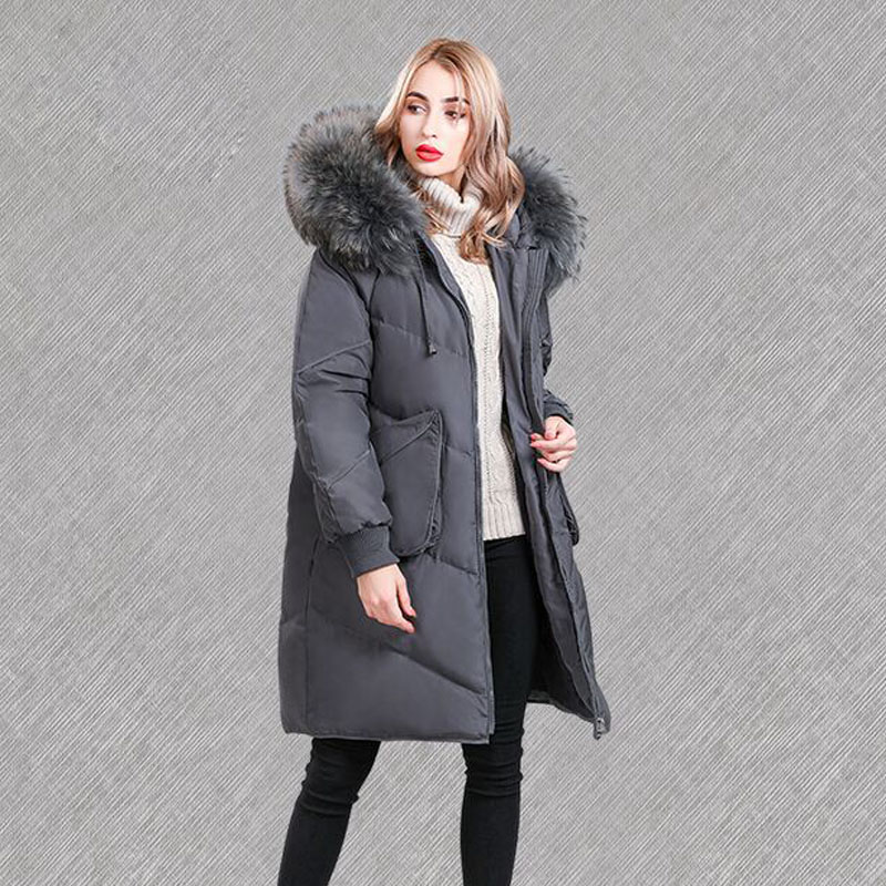 Huge Real Natural Raccoon Fur 2019 New Winter Jacket Women White Duck Down Jacket Warm Parka Female Plus Size Jacket Hooded Coat