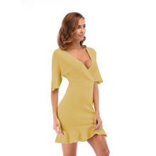 Deep V Neck Ruffle Summer Dress Female Plus Size Half Sleeve Knitted Sexy Slim Solid Color Dresses Women Pink Yellow Green Black