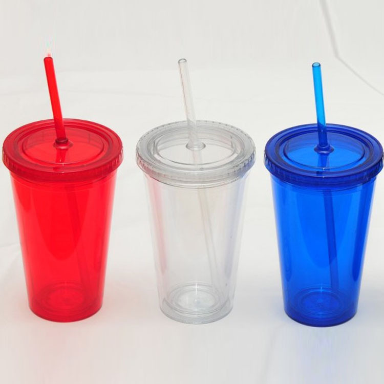 US $6 29 10% OFF|Double Wall Plastic Tumblers With Lids Straws 16oz  Drinking Cups Mugs Double Wall Insulated Tumblers with Straw Lid-in Mugs  from Home