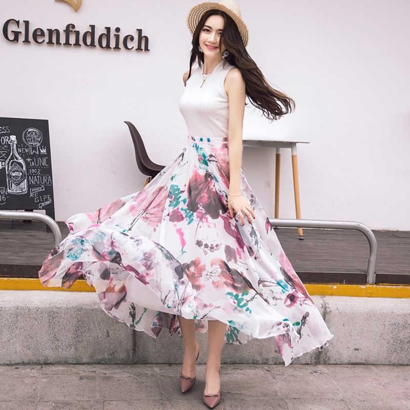 d03d83098d0 ... Hot Sell New Fashion Elastic Waist Casual Chiffon Skirt Summer Bohemian  Floral Print Beach Maxi Flower ...