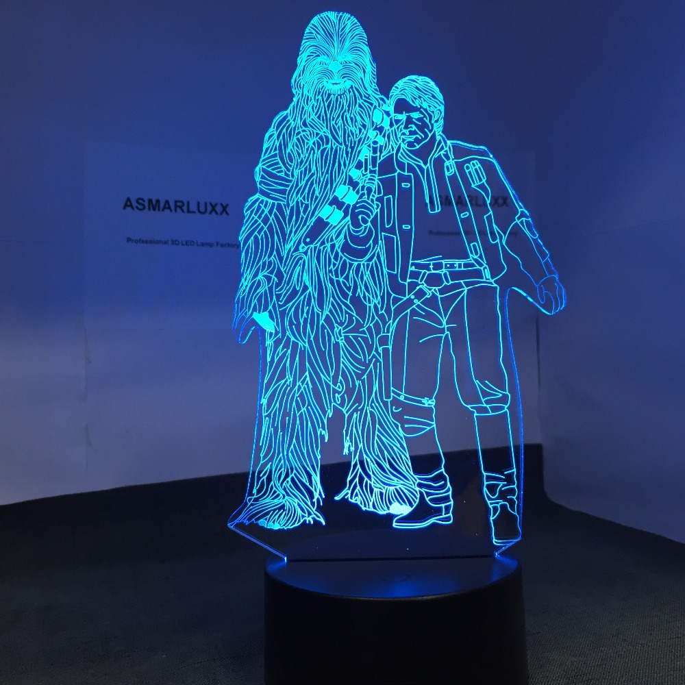 Chewbacca and Han <font><b>Solo</b></font> Shape 3D Lamp LED Light Touch Controller Table Lamp Night Lamp Model Toy Star Wars Gift Drop Ship image