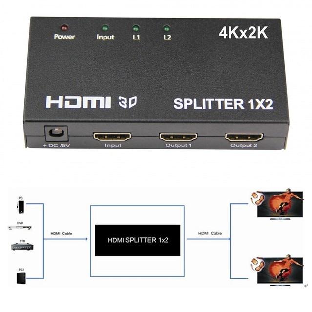 HDCP HDMI Splitter Full HD 1080 P Видео Hdmi-переключатель Switcher 1X2 Сплит 1 в 2 Из Видео Переключатель Усилитель для HDTV DVD PS3 Xbox