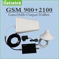 Conjunto completo de Mini Tamanho 2G 3G amplificador de sinal Celular Dual band GSM 900 Mhz UMTS WCDMA 2100 Mhz repetidor de sinal com antena e cabo