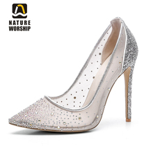 Nature Worship New Fashion High Heels Women Shoes Mesh Sequined Cloth Pumps Crystal Party Slip On Ladies Big Size 43