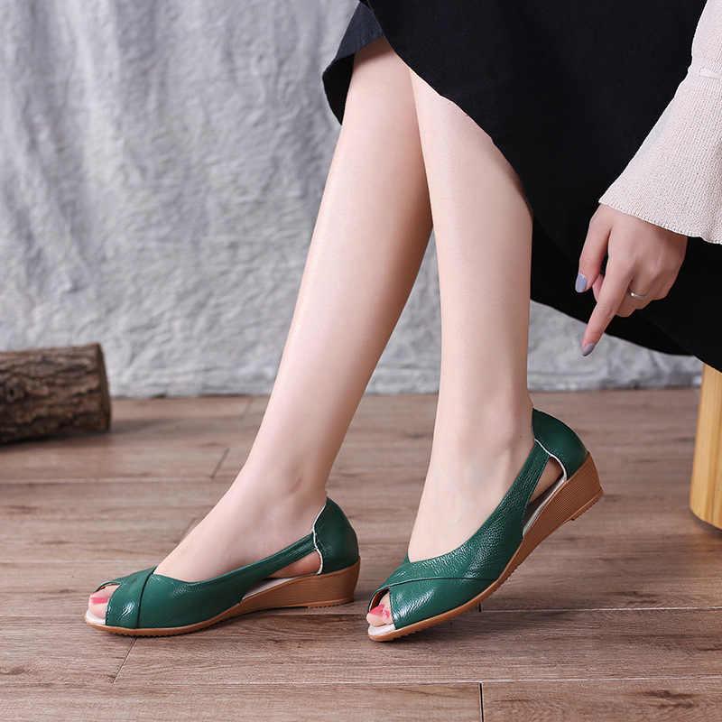 DONGNANFENG Kadın Anne kadın ayakkabısı Sandalet Daireler Inek Hakiki Deri PU Rahat Yaz Serin Plaj Kayma Boyutu 35-41 TB-2076