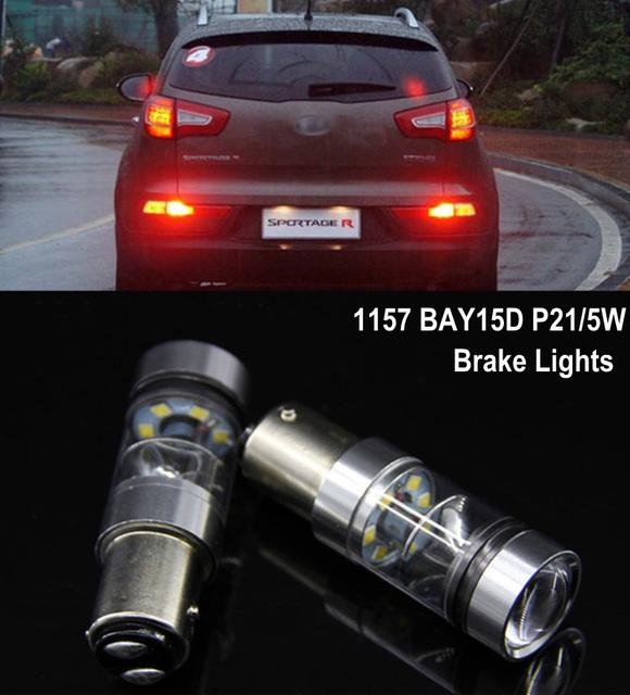 2x1157 p21/5 w sharp chips led stop/cauda luzes de freio lâmpadas para Kia K2 K3 K5 Sportage Carens Cerato Optima ALMA