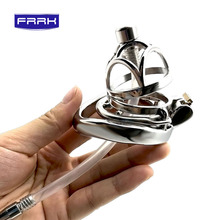 FRRK 304 stainless steel with catheter Male Chastity Cage Cock Ring Penis Ring Lock Chastity belt Sex Toys For Men Adult Game