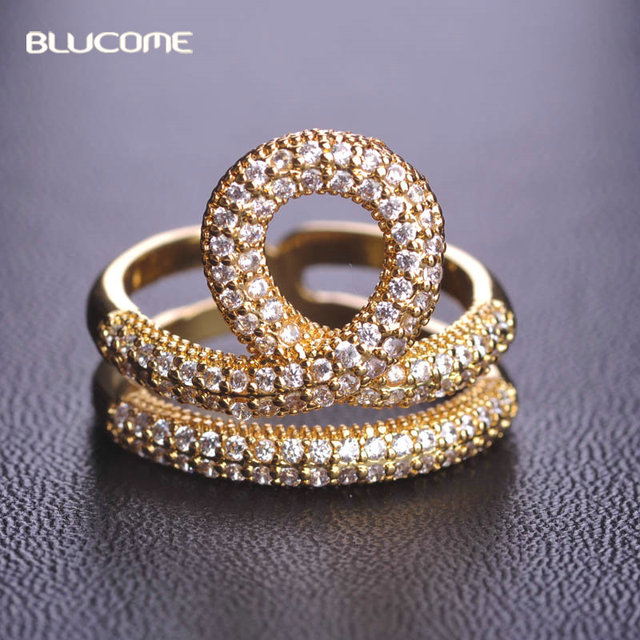 Blucome Micro Pave Cubic Zircon Two Layer Rings For Women Joias Ouro Wedding Bridal Copper Wide Rings Bague Bijoux Anillos