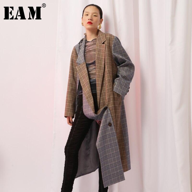 [EAM] 2018 Новый осень-зима нагрудные с длинным рукавом серый в клетку потерять Длинные Нерегулярные куртка Для женщин пальто мода прилив JH578