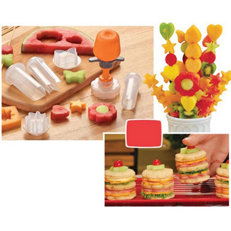 Vegetable Carving Pop Fruit Shape Cutter Fruit Mold Cake Decoration Flowers Mounted Mould Kitchen Gadgets Vegetable Tools