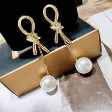 Personality Knot Simulated Pearl Long Earrings For Women 2019 Fashion Drop Dangle Jewelry Bijoux