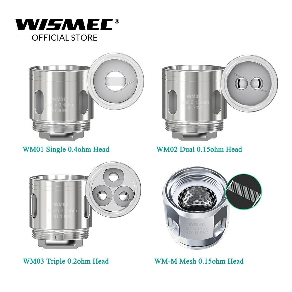 Wismec WM01 Single Coil 0 4ohm WM02 Dual Coil 0 15ohm WM03 Triple Head  0 2ohm For Reuleaux RX GEN3 GNOME Tank 5pcs/lot
