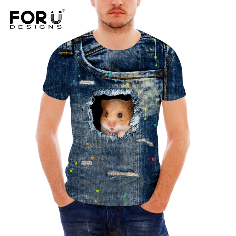 FORUDESIGNS Mens brand clothing 2017 high quality O-Neck short sleeve T-shirt 3D Jeans Cat Digital Print T shirt for men Homme