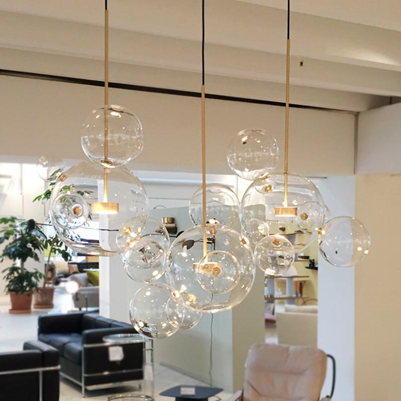 Ясно, Стеклянный шар гостиная люстры арт деко пузырь абажуры люстра современная внутреннего освещения Ресторан Iluminacao