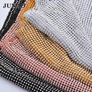 Image 1 - JUNAO 45*120 CM Glitter CLEAR Silver Rhinestone ตาข่ายผ้าคริสตัลริบบิ้น Glass Strass Applique เย็บโลหะตัดสำหรับชุด
