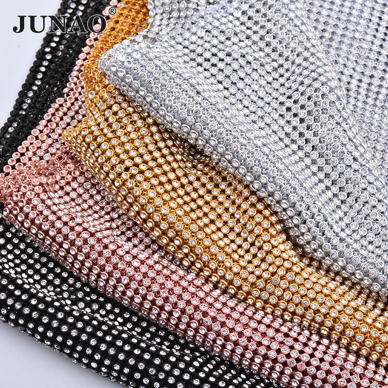 JUNAO 45 * 120cm Qızıl Gümüşü Qara Dikiş Şüşə Rhinestones Parça Metal Trim Alüminium Alüminium Mesh Kylie Jenner Doğum Geyimi Kol üçün