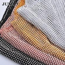 Junao 45*120 センチメートルグリッタークリアシルバーラインストーンメッシュ生地クリスタルリボンガラスラインストーンアップリケ縫製金属のためのトリミングドレス