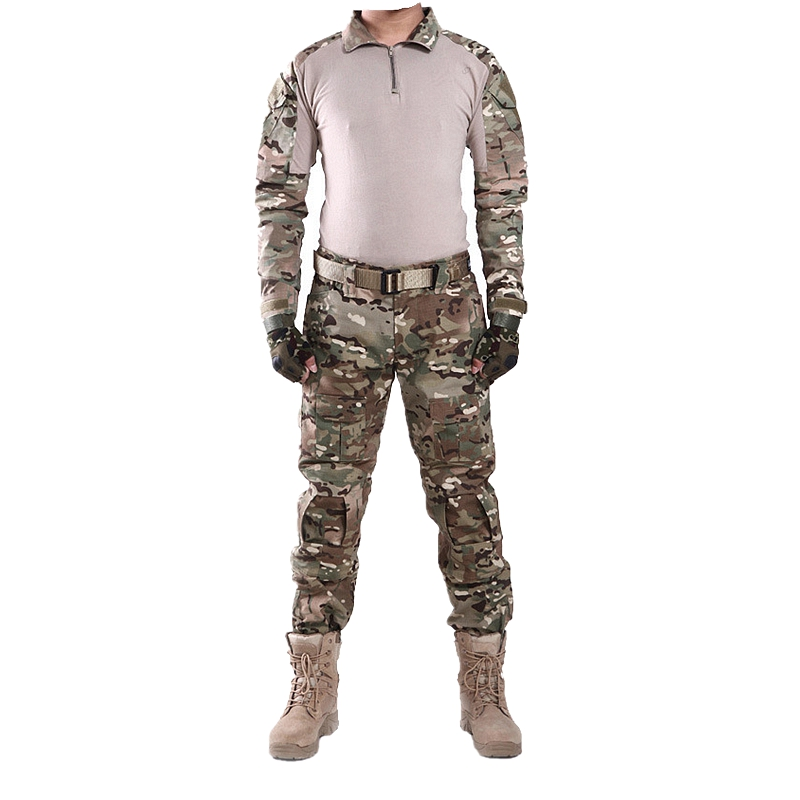 Tactical Combat Uniform Multicam Camouflage Hunting Clothes Kryptek W/ Knee Pads for Airsoft Paintball Combat Military CS Sport summer tactical camouflage army combat suit men typhone military uniform short sleeve militar airsoft paintball uniform set