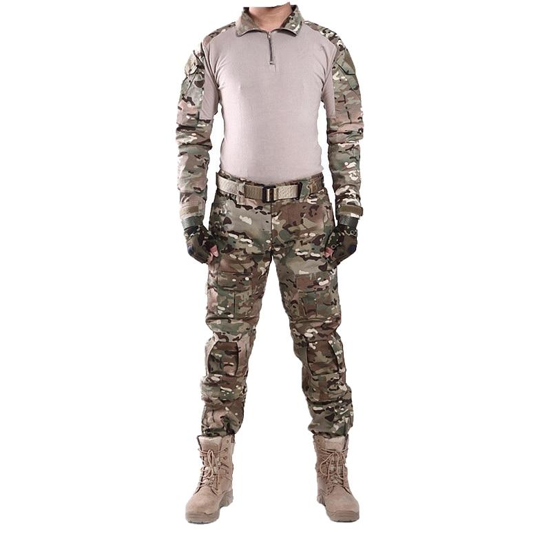 5a3d9662e2f Cheap Uniforme de combate táctico Multicam camuflaje ropa de caza Kryptek  con rodilleras para Airsoft Paintball