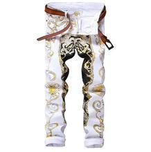 #1553 2017 Slim fit Джинсовые бегунов Мужские печатных цветок Белый джинсы мужчины Марка роскошные Rock Hip hop джинсы мужчины Jogger джинсы