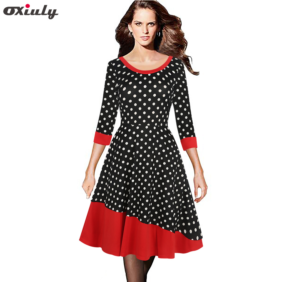 ed5b454c503e7 US $19.42 33% OFF|Oxiuly Patchwork Vintage Hepburn Dresses Polka Print A  Line O Neck 1950s Style Elegant Party Retro Dresses-in Dresses from Women's  ...
