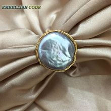 NEW Designer golden wire with big size baroque cultured pearls hand make ring light gray grey color for women gift new design original pieces gold with baroque ring pearls hand make rings peacock brown grey mixed color
