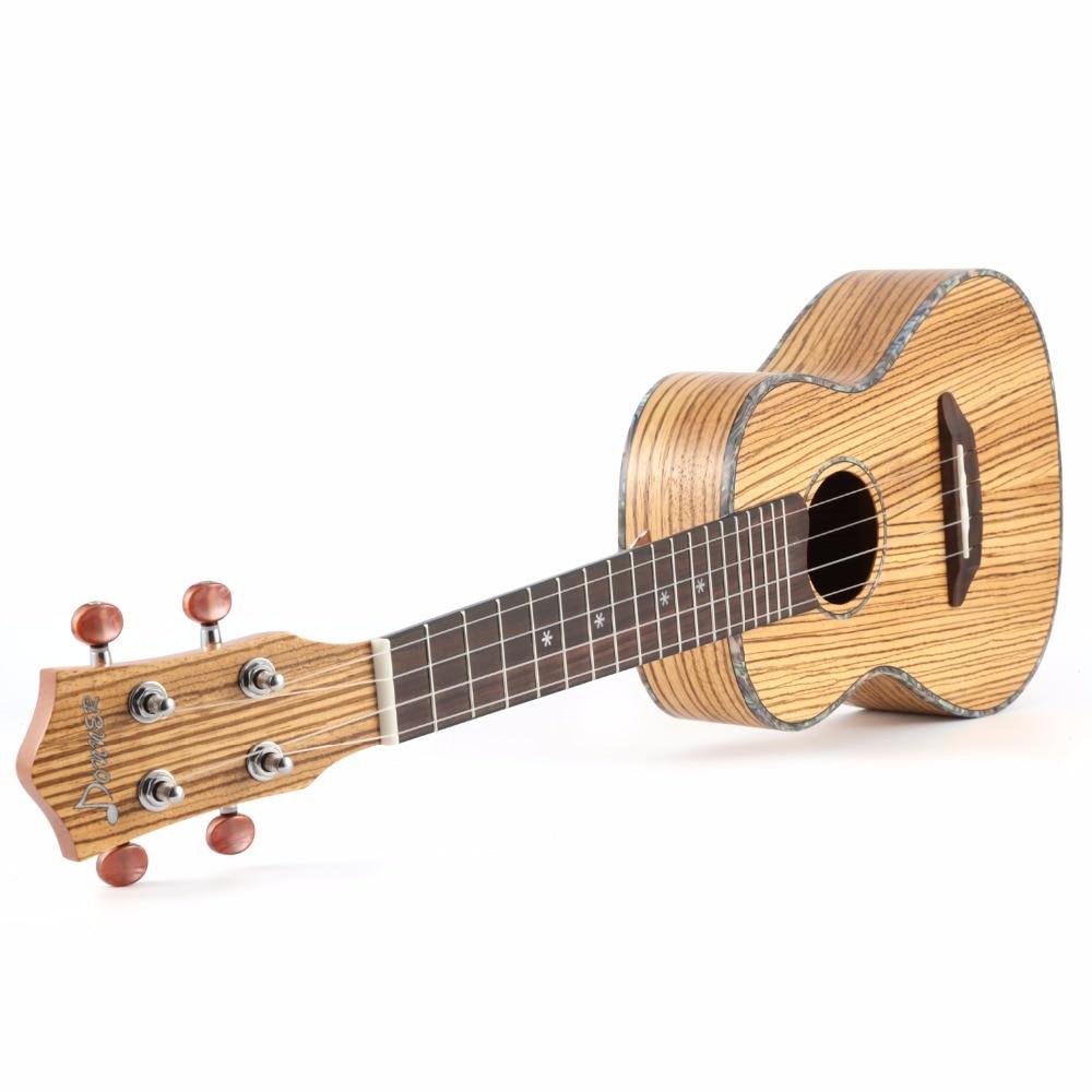 Donner 23 inch Zebrawood Body Concert Ukulele with Ukulele Set Tuner Strap Nylon String