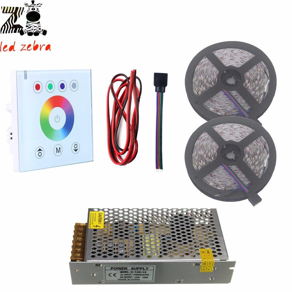 8b498e6e64e9 5 м 10 м 5050 SMD RGB светодиодные полосы света + Led Сенсорная панель  контроллер + 12 В LED силового трансформатора + 2Pin LED кабель провод