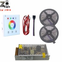 5m/10m 5050 SMD rgb led strip light+led touch panel controller+12v led power transformer+2pin led cable wire
