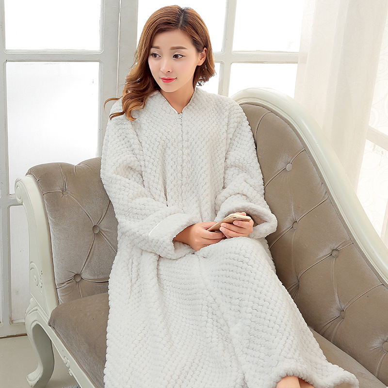 White TOWELLING BATH ROBE Ladies Cozy zip up Long dressing gown Bath ...