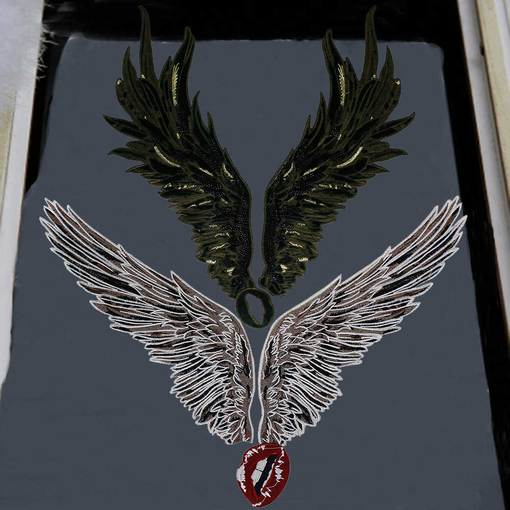 1set Embroidery Bead Patch Large Angel Wing Mouth Patch Badge Sew on T-shirt Clothes Applique for Clothes Fabric Accessories P68